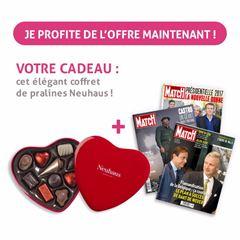 Image de 3 mois à Paris Match pour 29 € et un coeur de pralines Neuhaus en cadeau