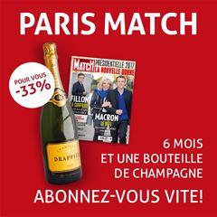 Image de 6 mois à Paris Match pour 53 € et en cadeau 1 bouteille de champagne !