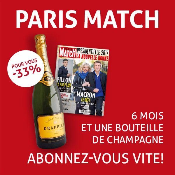 Image sur 6 mois à Paris Match pour 53 € et en cadeau 1 bouteille de champagne !