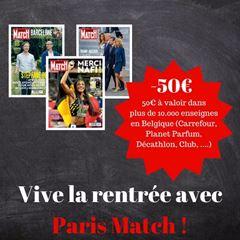 Image de 1 an à Paris Match pour 124 € et vous recevrez 50€ en cadeau !
